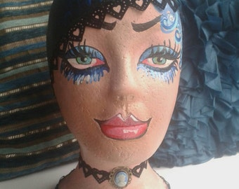 Bizarre Hedz Hand Painted Flapper Girl Hat or Wig Stand Juicy Lips Blue Hair