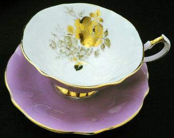 Queen Anne art deco Golden gilt rose pastel MAUVE purple tea cup and saucer flared majestic rainbow soft beauty timeless