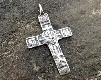 Antique Cross, Rosary, Sterling Cross, Silver Cross, Artisan Cross, Large Cross, Cross, Cross Pendant, Crucifix, Rustic Cross