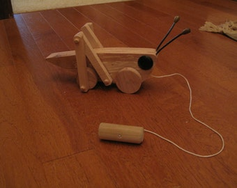 Child's grasshopper pull toy, kid's toy, children's pull toy, wooden toy