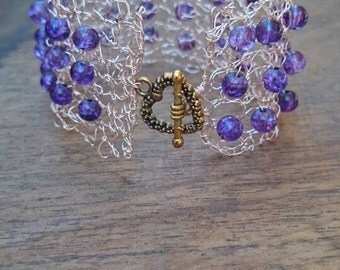 Knitted Rose Gold Wire and Purple Glass Bead Bracelet