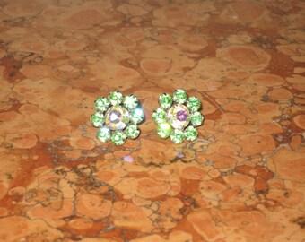 1940's Pair Weiss Screw back Green Rhinestone Earrings! #CT