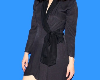 Vintage Silk Black Wrap Dress  M