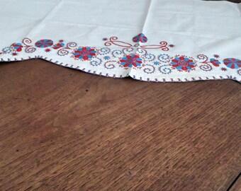 Antique Hungarian, 'Buzsak' hand embroidered curtain