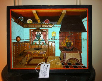Vintage Shadow Box/ Diorama Folk Art Alpine Kitchen