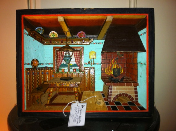 Kitchen Diorama Made Of Cereal Box: Vintage Shadow Box/ Diorama Folk Art Alpine Kitchen