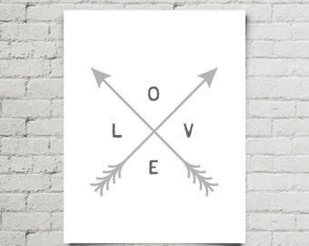 Printable Nursery Art | Arrow Decor | Love Arrow Nursery Art