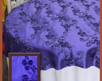 "Purple Ribbon Taffeta Overlay Wedding and Party Supplies 58"" X 58"""
