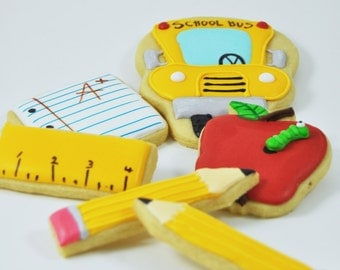 Back to School decorated sugar cookies  - cute treats - perfect teacher gift - teacher appreciation - apple - school bus - school party