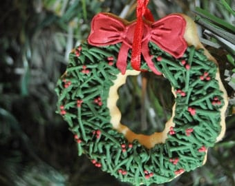 Edible Assorted Christmas ornament Cookies -1/2 Dozen - unique decoration - holiday sugar cookies - gift - christmas tree - stocking