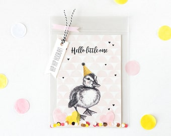 Cute new baby girl card, nursery print, new born girl postcard, pink baby card, baby gift, Hello little one, hand drawn duckling, confetti