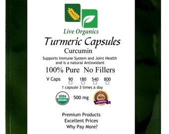 Live Organics Turmeric Capsules 500 mg 90 > 800 ct - Certified USDA Organic