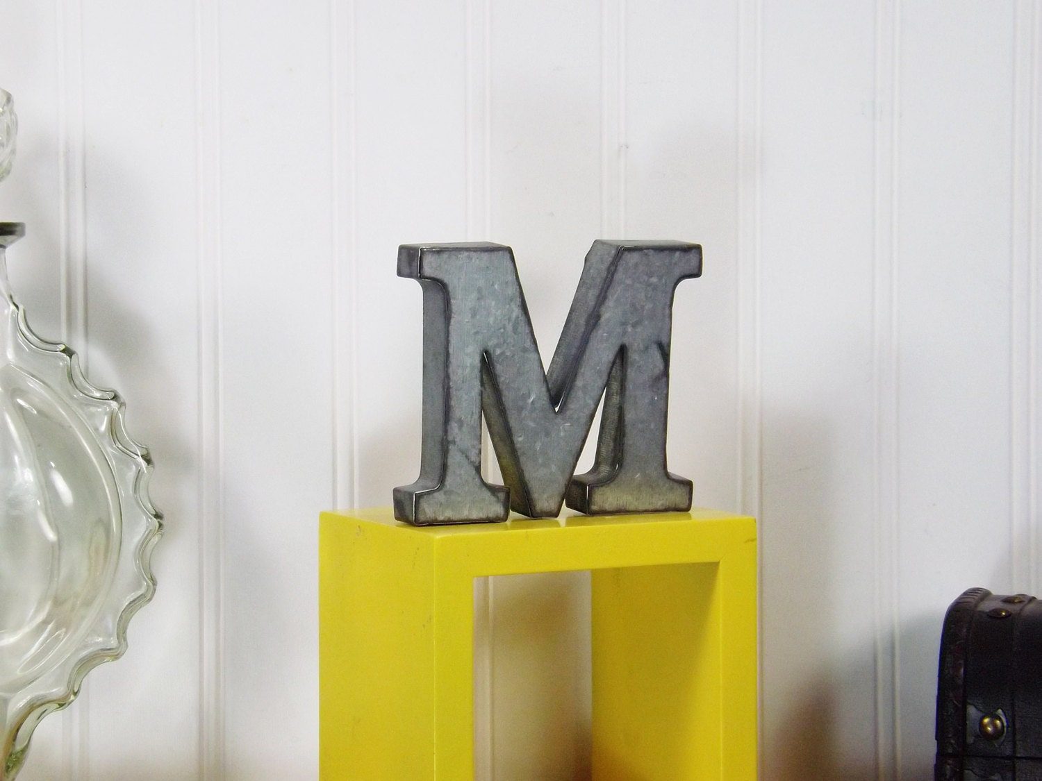 metal letter 4 inch letter shelf letter shelf decor shabby. Black Bedroom Furniture Sets. Home Design Ideas