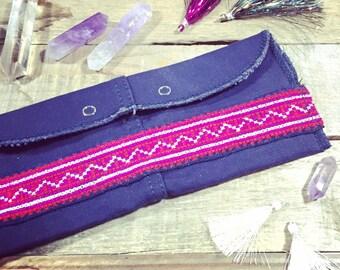 boho wallet // bohemian clutch // hippie handbag // military canvas, hmong indigo textile