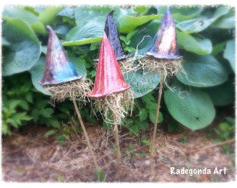 """Insects hotel """"Witches hat"""" Insect hotel Witches head handbuild pottery ceramic garden decoration"""
