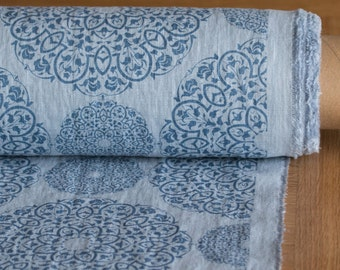 Linen fabric 205gsm Blue patterned with Mandala Pure 100 % washed and softened linen fabric medium weight and middle thickness plainly woven