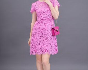 Short-sleeve mesh-top dress