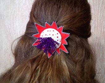 Handmade Red Star Hair Clip. OOAK Psychedelic Hair Accessories.