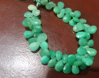 8x10 mm Chrysoprase Faceted Pear Shape , Natural Chrysoprase pear briolette in good color .