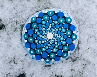 SNOWDROP - Handpainted stone blue & turquoise dotted art painting