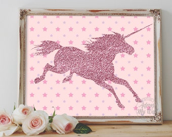 Unicorn printable, pink glittery nursery wall art decor, instant download, unicorn print, wall art, glitter unicorn