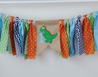 dino dinosaur first birthday highchair banner one green blue orange
