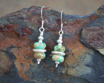 Handmade Sterling Silver Earrings with Mottled Green Lampwork Beads