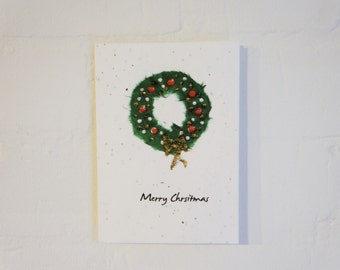 Wreath Christmas Plantable Card