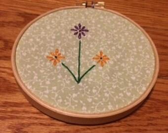 flowers - embroidery hoop art