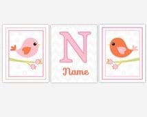 Baby Girl Nursery Canvas Wall Art Pink Orange Gray Green Birds Personalize Name Art Girl Room Toddler Baby Nursery Decor Canvas Prints Art