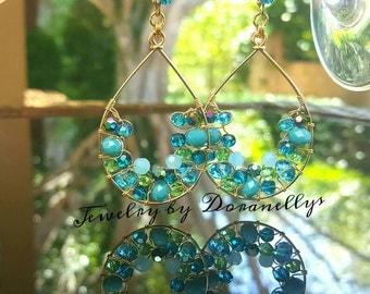 Sale! Was 84.99, Earrings, 14kt Gold Filled,  Colorful Jewelry,  Drop Earrings, big, blue, sparkle, elegant