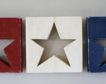 American Patriotic Red White & Blue Star Plaques  (3 Piece Set)