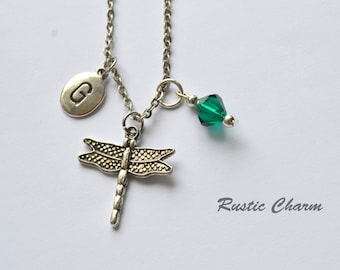 Personalized Birthstone Crystal and Initial Dragonfly Charm Necklace