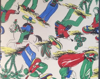 A  Vintage painted Mexican design for textiles or wallpaper