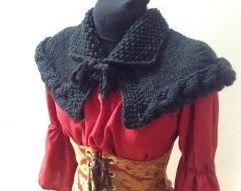 Free shipping made to order acrylic capelet collar celtic cable seed stitch Outlander Sassenach Highland style larp or historical costume