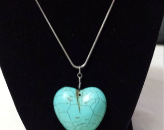 Turqoise heart chain necklace