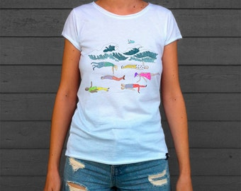 Men's and Women's T Shirt with Sea print