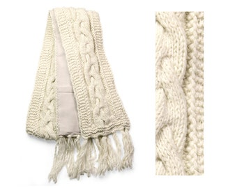 Wool Scarf, Hand Knit Wool Scarf, Winter Scarf - Cream Cable Knit - 2601W