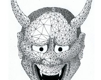 Hannya mask geometric drawing made with pen 0.1. Size A4, printable drawing.