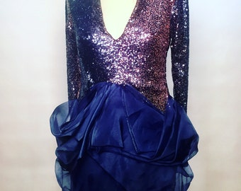 Pink and Navy Ombré Sequin Dress