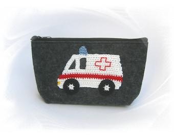 First aid bag made out of felt bag with ambulance, ambulance bag