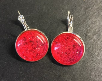 Rose earrings with glitter effect +++ radiantly beautiful