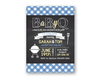 Baby Q - Baby Shower Invitation - Baby Shower Invites - Baby Q Shower Invitations - Barbeque Baby Shower