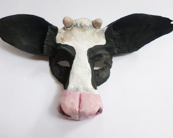 cow mask, holstein cow, paper mache, wearable, mask, barnyard animal