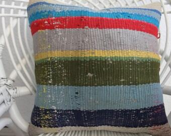 "16""x16 vintage kilim pillow handmade pillow Cushion case Multicolour Pillow Bohemian Kilim Pillow Decorative Kilim Pillow Throw Pillow 926"