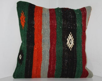 "Multicolor kilim pillow Handwoven Kilim Pillows 16"" x 16"" Bedding Pillows Kilim Pillow Covers Cushion Covers Embroidery Turkish Pillow 14"