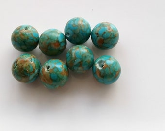Round fire turquoise 11mm beads