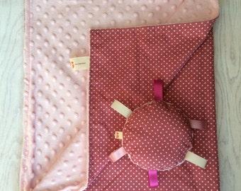 Polkadot baby blanket, Baby gift set, Pink Minky Baby Blanket, baby comforter, white and pink baby blanket, handmade, Supersoft blanket, bab