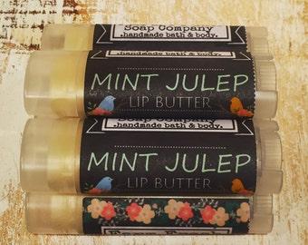Mint Lip Butter, Mint Julep, Lip Balm, Mint Chapstick, Vegan Lip, Natural Lip Balm, Organic