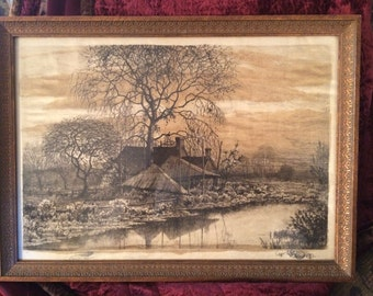 Hauntingly Beautiful Henry Farrer (American 1843-1903) Etching with Two Remarques, A Farmstead Before a Pond (1887)